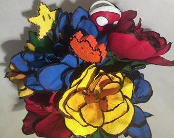 Super Mario Brothers Bouquet, Gamer Wedding, Video Game Bouquet, Primary Color Bouquet, Nintendo Bouquet