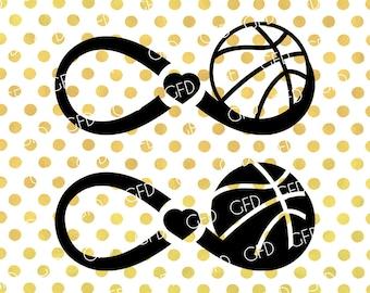 Basketball Infinity Frame SVG, Basketball Love SVG, Basketball Monogram SVG, Basketball Cut File, Instant Download, Svg, Dxf, Jpg, Eps, Png