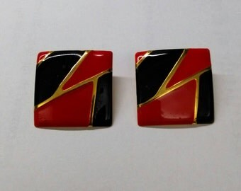Vintage Red Black Square Color Block Earrings, Accessories, Boutique, Fashion Earrings