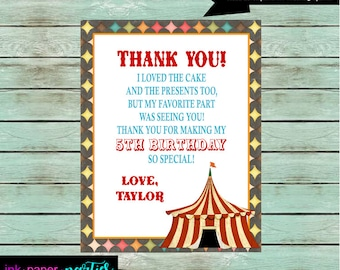 Vintage Circus Carnival Tent Birthday Party Thank You Note Cards ~ We Print and Mail to You