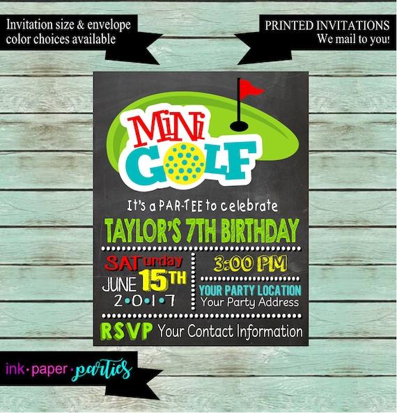 Mini Golf Golfing Birthday Party Invitations Invites We