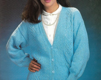 knitting pattern, pdf, women's ladies lace panel cardigan, sizes 30-40 inch, digital download, instant download
