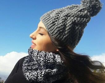 Sale Pom pom hat , knit pom pom hat ,  winter hat , crochet pom pom hat , warm knit hat , blackfriday