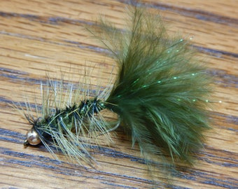 Four (4) Wooly Bugger flies, w/ tungsten weight & Krystal Flash,size 10(Dark Olive or Black),for fly fishing