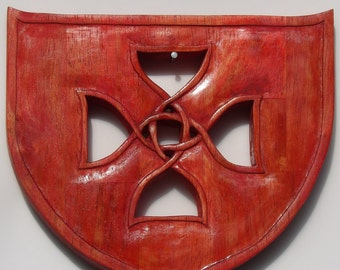 Hand Carved Wall Hanging, Reclaimed Wooden Shield, Celtic Knot Design, Handmade Wooden Celtic Shield Knot, Wooden Celtic Protection Knot