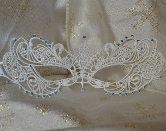 White Lace Blue Diamante Masquerade Mask  - Weddings, Valentine's Day Gift, New Years, Masquerade Balls, Proms, Christmas Party