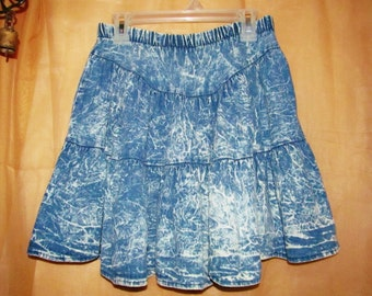 Girls/ DENIM/ JEANS/ SKIRT/ Blue/ Vintage/80's/Acid Washed/Junior/Teen/ Tiered/Cotton/Prairie/Country/Western/ Fashion/Clothing/Outerwear