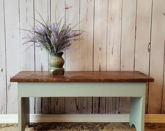 LOCAL CUSTOMERS - Entryway Bench- Shoe Storage, Rustic, Small, Turquoise, Distressed, Wood, Country, Farmhouse Decor, Cottage, Furniture