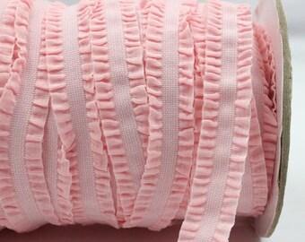 Pink Ruffle Frilly FOE Fold Over Elastic 16mm per Yard