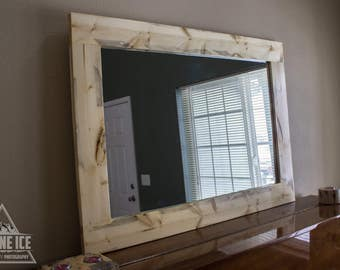 24 X 36 inch Pine Beetle/ Blue Stained Pine Framed Mirror