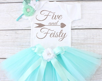 Five and Feisty. Girls Birthday Tutu Outfit. Five Year Old Birthday Outfit. Birthday Outfit 5. Fifth Birthday Outfit. T04 5BD (AQUA)
