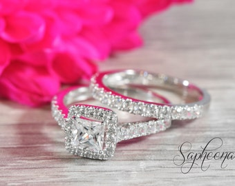 White Princess Cut Halo Engagement Ring Set in 14k White Gold, Bridal Set, Wedding Rings, Promise Ring, Eternity Band  by Sapheena