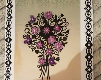 Bunch of flowers White card 250gsm 8×8