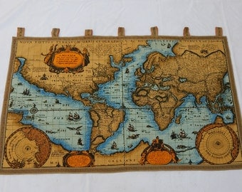 vintage french beautiful world map english design print tapestry 028