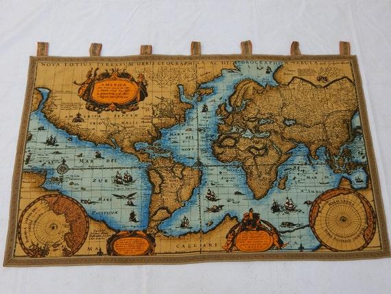 Vintage french beautiful world map english design print like this item gumiabroncs Choice Image