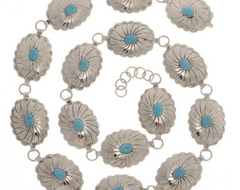 Turquoise Link Concho Belt Native American Made Silver