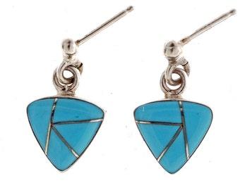 Turquoise Silver Earrings Navajo Post Dangles