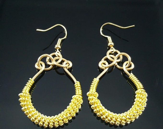 Handmade Gold Color Wire Wrapped Earrings