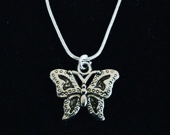 Homemade Silver Plated Butterfly Charm Pendant