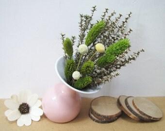 Dried Flowers in Pottery Vase, Christmas Decor, Christmas Gift, Rustic Home Decor, Rustic Mantel Decor, Wedding Decor, Wedding Centerpiece
