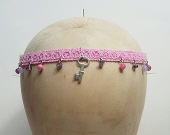 Amethyst and Jade Charm Festival Boho 70's Inspired Head Band