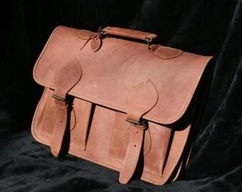 Handmade Brown Leather Messenger Bag / Briefcase for Men