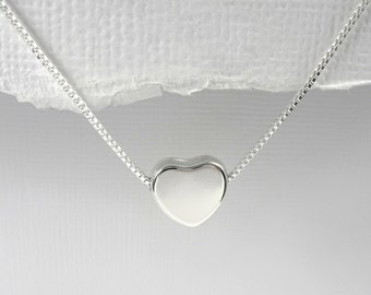Heart Necklace, Sterling Silver Heart Necklace, Girlfriend Gift, Gift for Daughter, Gift for Mom, Bridesmaid Gift, Girlfriend Gift