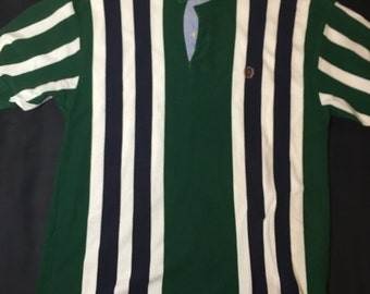 90's Style Tommy Hilfiger Striped Polo // Size Large