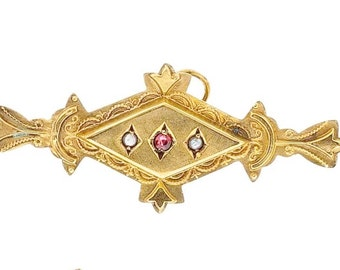 """Estate 9ct 9k Yellow Gold Pearl Ruby Vintage Pendant or Bar Brooch Pin 1-5/8"""" long 2.4g Victorian Engraved 9kt 9 k kt ct Antique Royal Crown"""