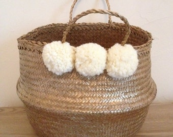 Basket Golden with white PomPoms