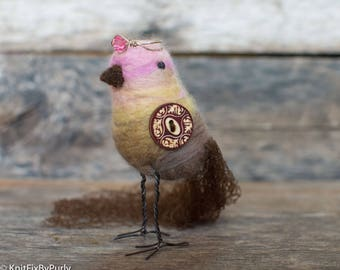 Bird - Needle Felted Bird - PurlyBird 9  - Bird Decor - Bird Art - Mixed Media Bird