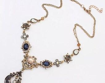 Boho jeweled Vintage Royalty Necklace