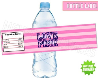 Pink Inspired Water Bottle Labels, Instant Download, 60% OFF