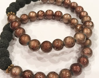 Brown and Gold Stackable Essential Oil Diffuser Bracelet