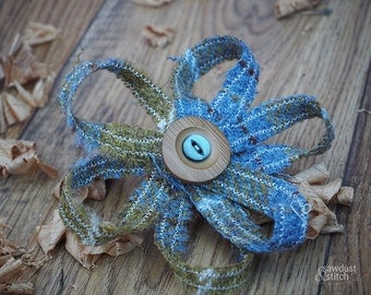 Handmade Large Mustard and Blue Harris Tweed Flower Brooch  approx. 12cmx12cm