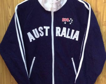MEGA SALE !! Vtg Australia Sweater Full Zipper Spell Out Logo Nice Design Small Size