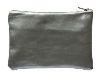 Silver Leather zipper purse