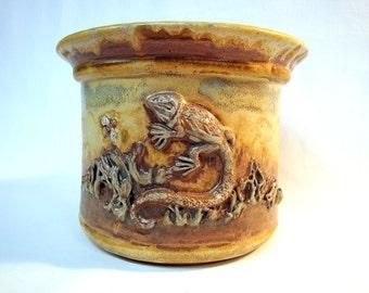 Ceramic Garden Pot Planter - Brown and Tan Lizard