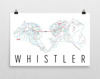 Whistler Ski Map Art, Whistler British Columbia, Whistler Trail Map, Ski Decor, Ski Art, Ski Sign, Ski Poster, Ski Gifts, Canada, Cabin