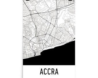 Accra Map, Accra Art, Accra Print, Accra Ghana Poster, Accra Wall Art, Map of Accra, Accra Gift, Accra Decor, Accra Map Art, Accra Map Print