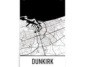 Dunkirk Map, Dunkirk Art, Dunkirk Print, Dunkirk France Poster, Dunkirk Wall Art, Map of Dunkirk, Dunkirk Gift, Dunkirk Decor, Map Art