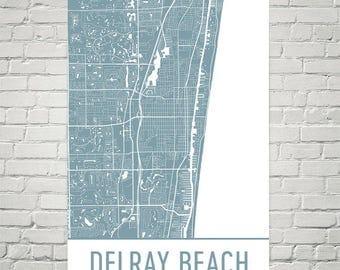 Delray Beach Map, Delray Beach Art, Delray Beach Print, Delray Beach FL Poster, Coastal Decor, Coastal Wall Art, Coastal Wall Decor, Beach