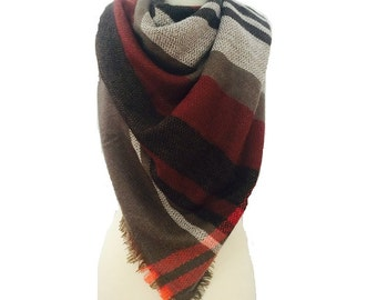 Blanket scarf plaid, warm winter scarf, plaid scarf, wool scarf, warm scarf, womens shawl, blanket scarf wool, scarves, chunky scarf