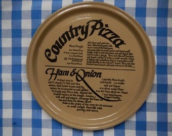 Plate Pearsons of Chesterfield Country Pizza Recipe Plate, Oven to Table c. 1970's. Retro Vintage Baking Cookware Cafe  Kitchenalia Rustic