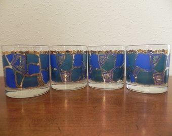 Vintage Mid-Century George Briard Highball Glasses in Blue, Aqua, and Gold.