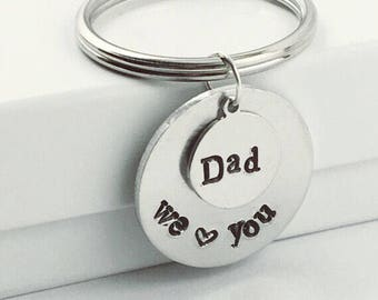 Personalized gift for him / keychain / hand stamped / husband gift / gift for dad / anniversary gift / custom keychain / Valentine's gift