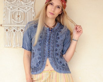 Vintage Embroidered Cotton Tee Top