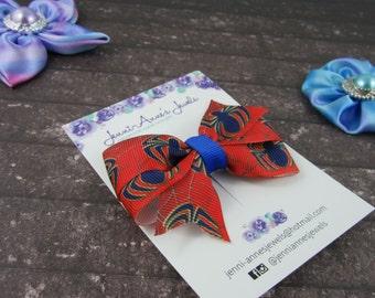 Pinwheel Hair Bow Clip - Spiderman