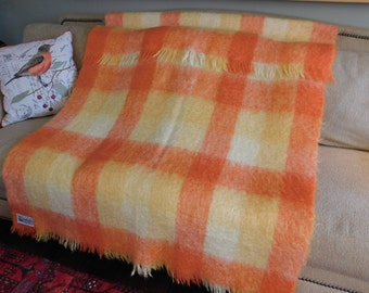 "Vintage ""Glen Cree"" 100% Mohair Blanket Made in Scotland"