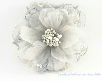 Handmade silk flower broche/hair clip